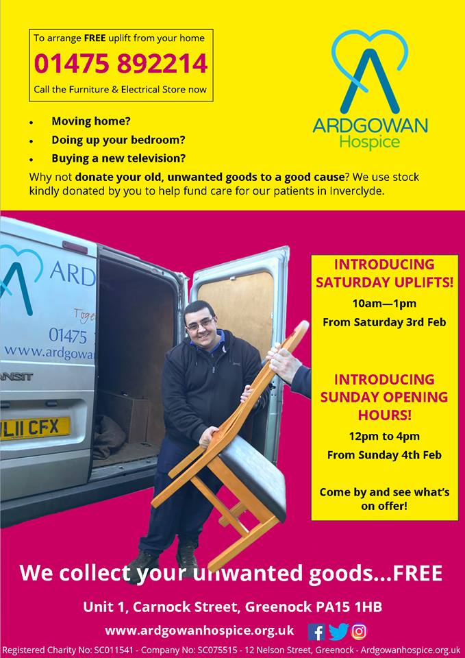 Ardgowan Furniture And Electrical Store Increases Opening Hours And Collections Ardgowan Hospice