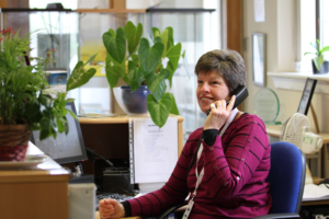 Sally Gibson, volunteer receptionist